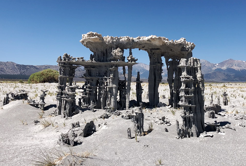 Otherworldly sand tufas found close by the lake shore toward the eastern side of Mono Lake.